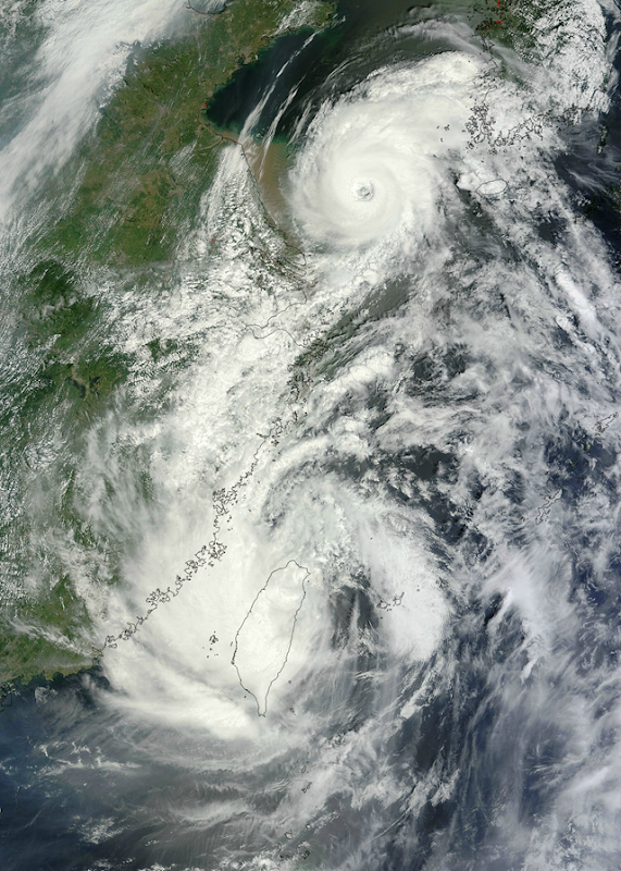 Tropical Storm Saola and Typhoon Damrey appear on NASA satellite imagery to be arm-in-arm as they enter China on 2 August 2012. NASA's Terra satellite passed over both tropical cyclones and captured them in one image, using the Moderate Resolution Imaging Spectroradiometer (MODIS) instrument onboard. NASA Goddard MODIS Rapid Response Team