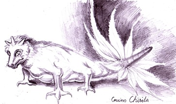 Creatura din vis - Dinozaurul cu coarne si coada ca o floare cu pene desen in creion