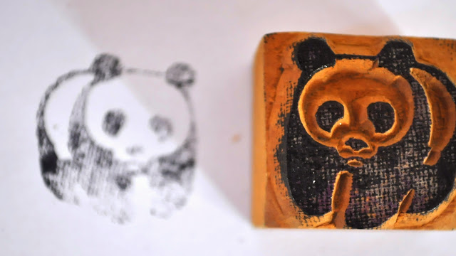 Wooden Block Polar Bear Stamp