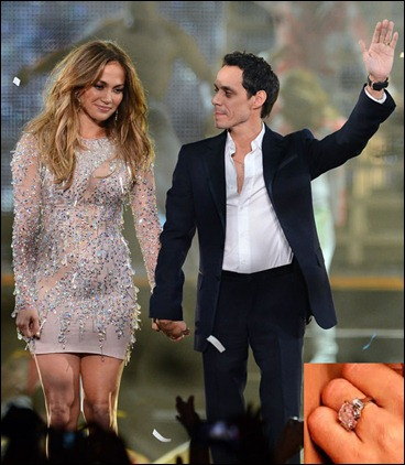 Jennifer Lopez and Marc Anthony with Diamond Engagement Ring