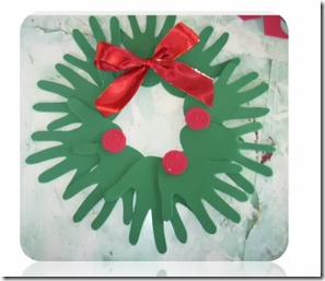 Navidad manualidades ni os corona hecha con manos for Coronas de navidad hechas a mano