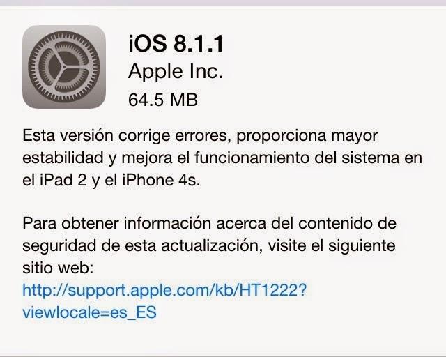 Nueva actualización de iOS 8.1.1