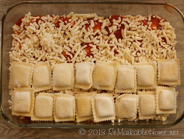 Ravioli Strata Lasagna topped with Crispy Pepperoni {ReMarkableHome.net}