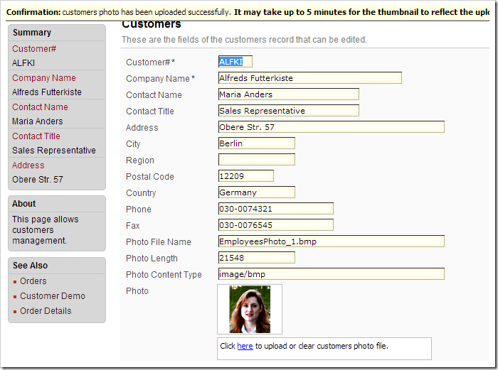Uploading a picture to Photo field in Customers controller.