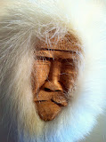 Inuit mask (whalebone and polar bear fur) Evans Apatiki