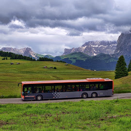 The Bus by Stefano Landenna - Transportation Other ( trentino, bus, siusi, dolomites, italy )