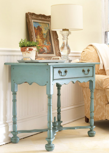 A console need not be long and narrow. This charming piece really adds character to a more traditional space. (Somerset Bay Mackinaw Lowboy, Layla Grace)