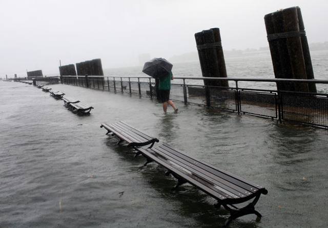 Battery Park after Hurricane Irene, by then a tropical storm, hit in 2011. Low-lying areas of New York City are vulnerable to storms. Michael Appleton for The New York Times