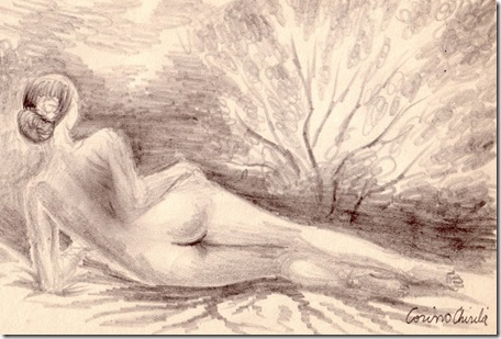 Anotimpuri - Nud in decor natural de primavara si toamna desen in creion