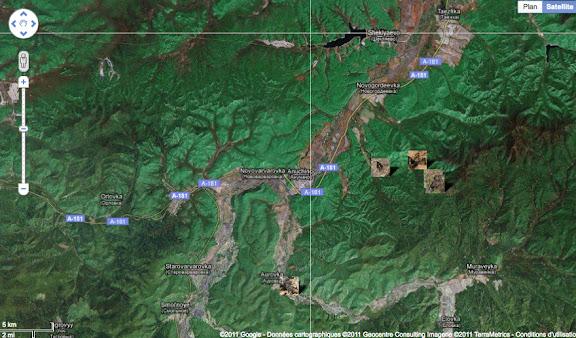 Localisation des photos autour d'Anutchino : Aurovka (au sud), Novogordeevka (au nord-est).