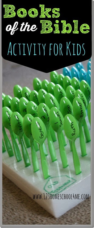 Books of the Bible Activity for Kids - Army of Spoons a simple, easy to make and play activity for Sunday School kids to learn the books of the Bible.