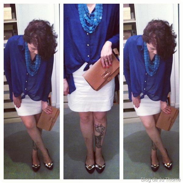 look vestido tomara que caia branco, camisa mullet e maxi carteira detalhes