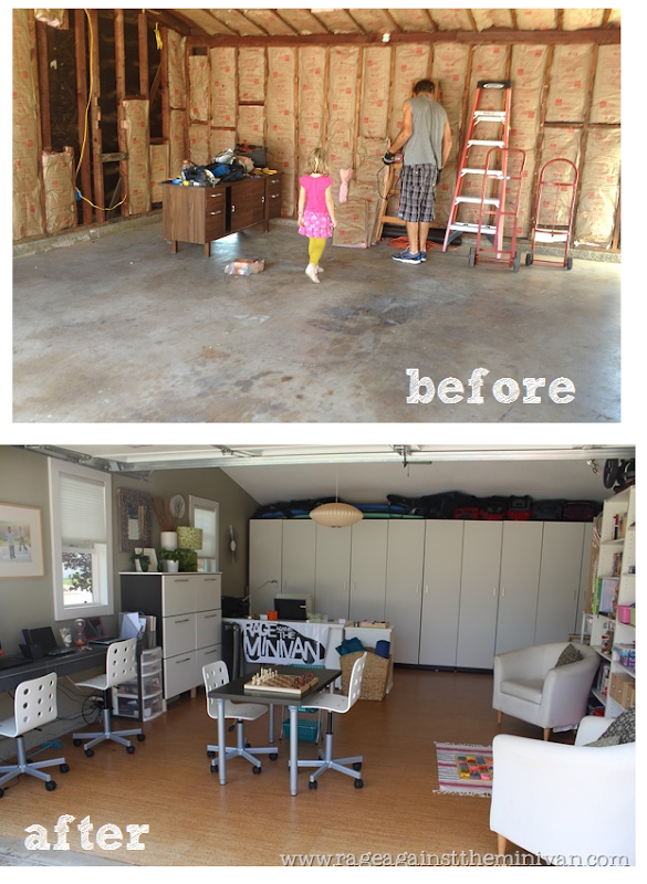 garage remodel (playroom conversion) before and after