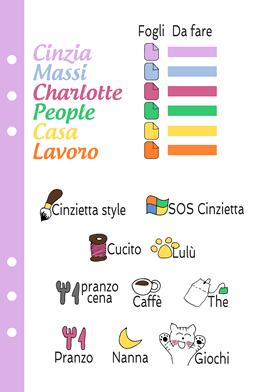 codice colori cinzietta