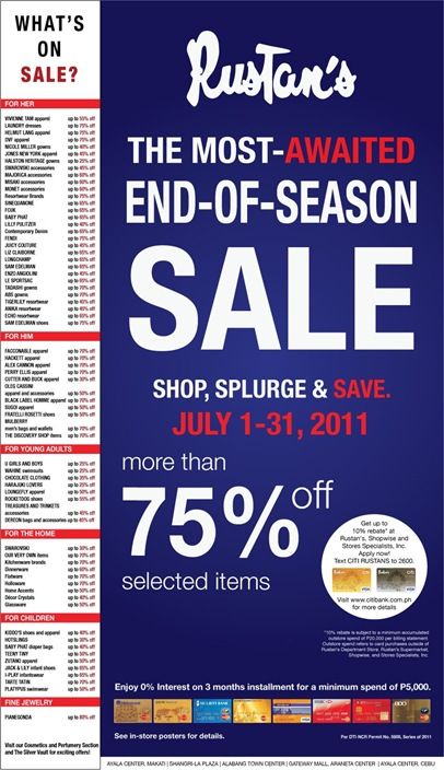 Rustan's End of Season Sale