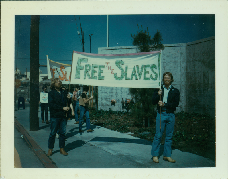 """Free the Slaves"" protesters support the MARK 40, the 40 people who the Los Angeles Police arrested when it raided the Mark IV Health Club for holding a ""slave auction"" fundraiser. 1976."