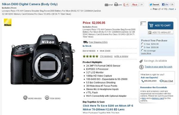 Nikon D600 Sale