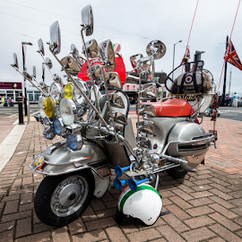 Quadraphenia by Ian Clamp - Transportation Bicycles ( mirrors, flags, mods & rockers, british, helmet, sixties, brighton, quadraphenia, the who, skinheads, ska, mods, scooter )