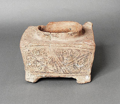 Vessel Greater Iran (Afghanistan) Vessel, 6th-8th century Ceramic; Vessel, Ceramic, Height: 5 9/16 in. (14 cm); Width: 6 1/8 in. (15.5 cm); Length: 7 1/8 in. (18 cm) Gift of Kate Fitz Gibbon and Andrew Hale (AC1997.253.9) Art of the Middle East: Islamic Department.
