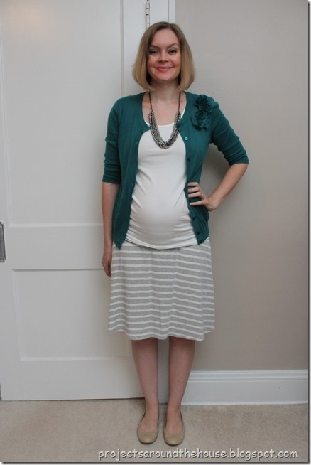 teal, grey and white stripes