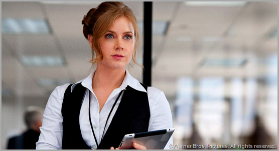 Amy Adams does what she can with a criminally underwritten Lois Lane in MAN OF STEEL. CLICK to visit the official movie site.
