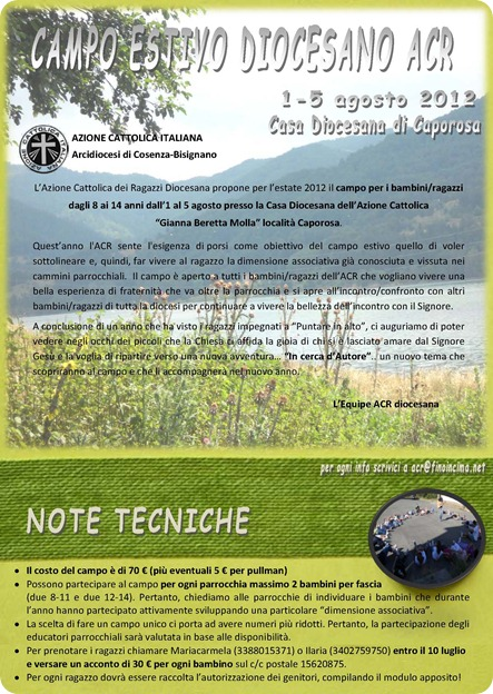 lettera campo ACR 2012