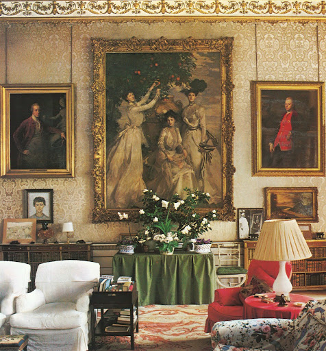 Chatsworth in Devonshire. The drawing room has this wonderful Batoni portraits of Cavendish ancestors.