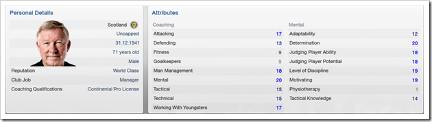 Alex Ferguson attributes in FM13