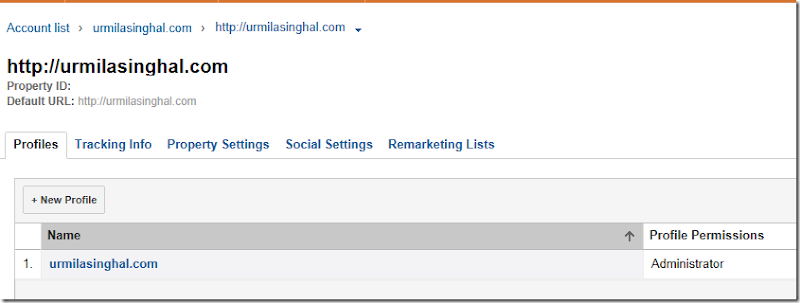 Google Analytics account administration profile