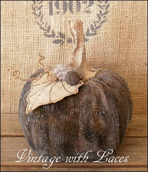 Upcycled Fabric Pumpkin by Vintage with Laces