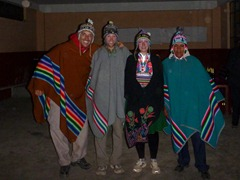 Dressed in our traditional costumes for the party on Isla Amantani.