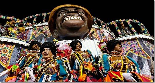 The Portela samba school parades during celebrations at the Sambadrome in Rio de Janeiro. (Victor R. Caivano/Associated Press)