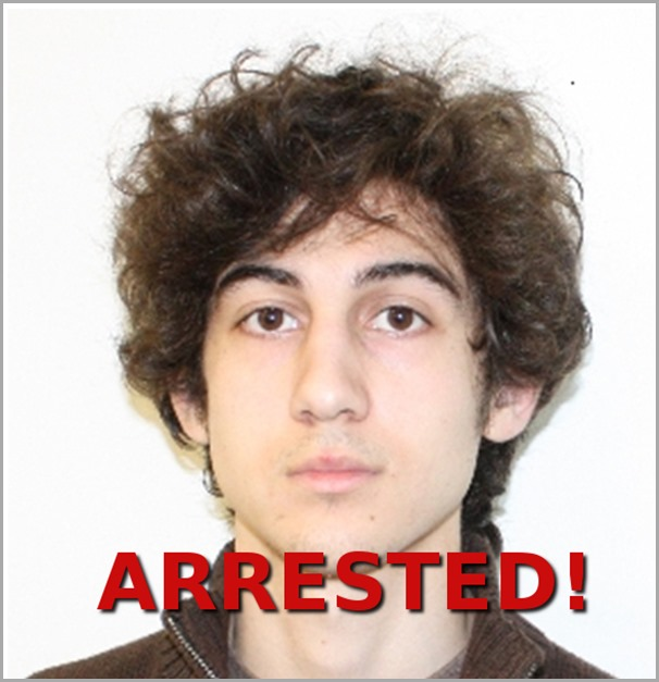 Boston Marathon bombing suspect Dzhokhar A. Tsarnaev, 19, has been arrested!