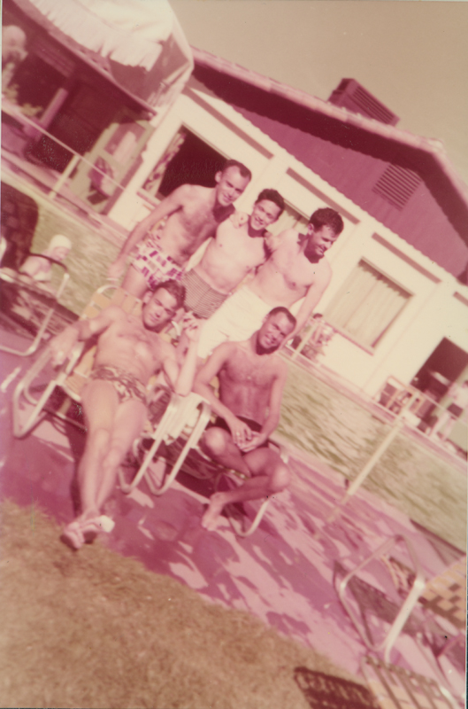 "Five male friends by a swimming pool. On album: ""Sex anyone!"" Mexico. 1959."