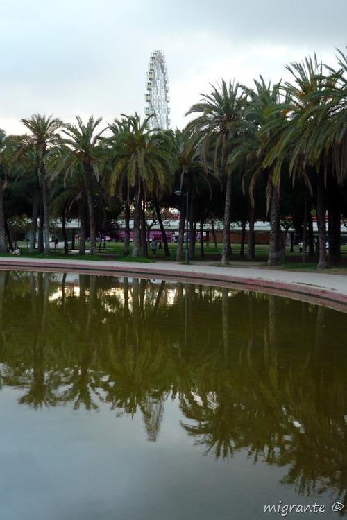 noria palmeras y reflejos - feria de julio valenciana