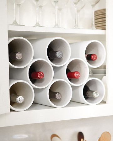 No one will guess that this sleek, modern wine rack is made of PVC pipe from a hardware store. http://www.marthastewart.com/333157/turn-hardware-pipes-into-a-modern-wine-r