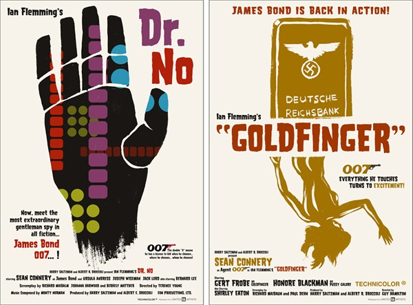 james bond 007 tribute artwork posters goldfinger dr no