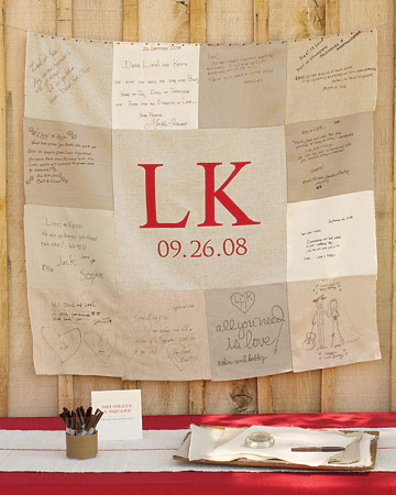 For this real wedding, guests were asked to write on squares of linen, which were later sewn into a keepsake quilt for the couple.