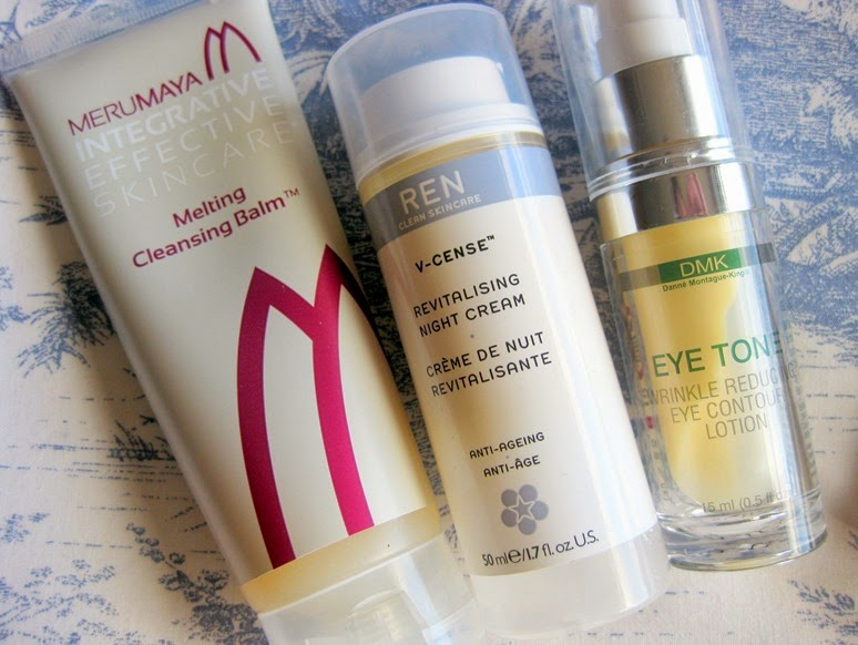 Merumaya-Cleansing-Balm,REN-V-cense-Revitalising-Night-Cream,DMK-Eye-Tone