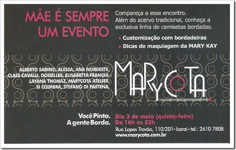 convite Marycota Dia das Mães 2012