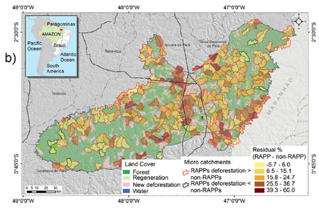 Map of riparian permanent preservation areas (RAPPs) in the municipality of Paragominas in Pará, deforestation inside and outside RAPPs. Graphic: Nunes, et al., 2014