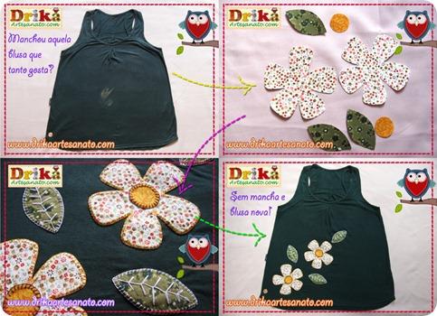Patch aplique escondendo mancha e customizando blusinha