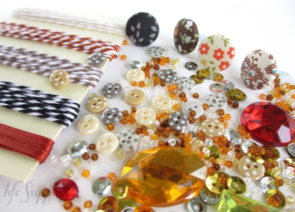 Steampunk embellishment pack 3 bakers twine beads buttons