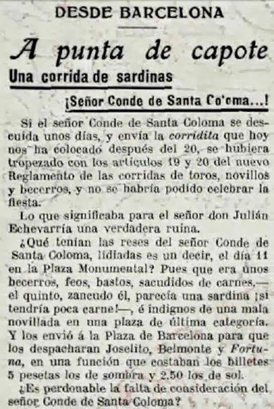 1917-03-11 (p. 19 La Lidia) Titular corrida de Santa Coloma
