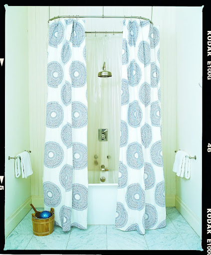 Love this way of treating a shower curtain.