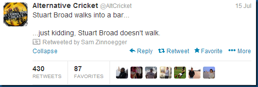 Stuart Broad walks into a bar...