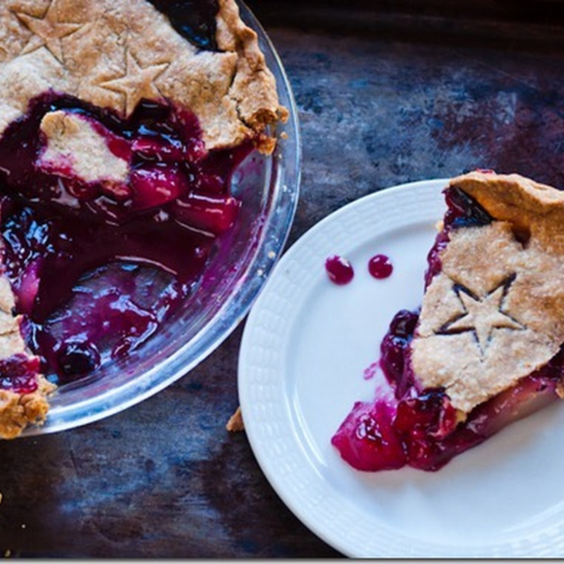 Blueberry and pear pie