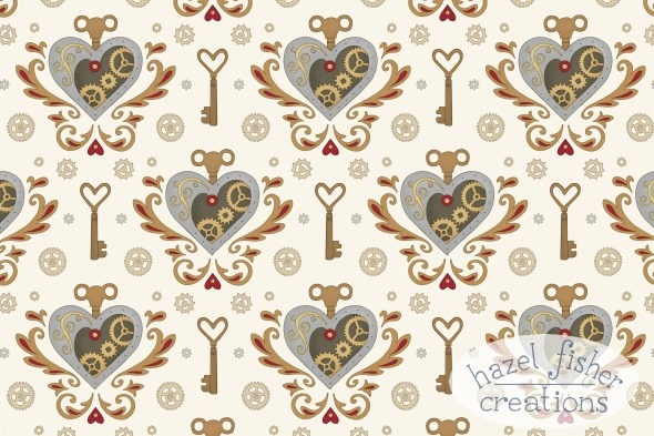 steampunk valentine spoonflower contest entry surface pattern design hazel fisher creations 06Feb2015
