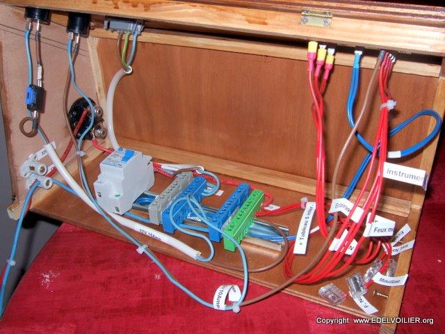 Le disjoncteur différentiel 32A  vient de prendre place ainsi que les barrettes de connexion du 220V