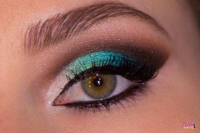 maquiagem verde maquiagem azul